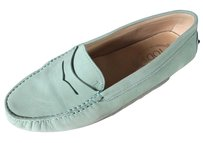 Tod's Green Leather Loafers Mint Flats