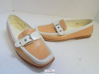 Tod's Tods Tan Ivory Leather Brown Flats