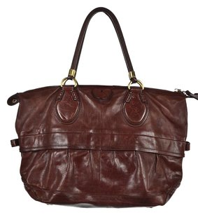 Tod's Womens Red Distressed Handbag Satchel in Burgundy