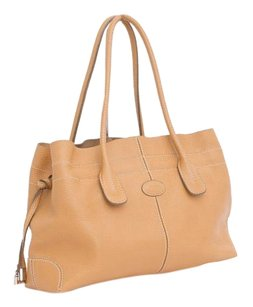 Tod's Light Tan Pebbled Leather Handle Tote Shoulder Bag