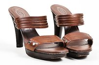 Tod's Tods Leather Two Strap Brown Sandals