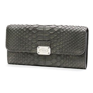Tod's Tods Metallic Grey Python D-styling Long Wallet