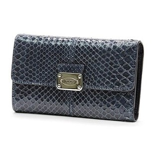 Tod's Tods Navy Blue Python D-styling Compact Wallet