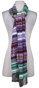 Tolani Tolani Womens Ivory Green Burgundy Purple Black Knit Scarf One Wool