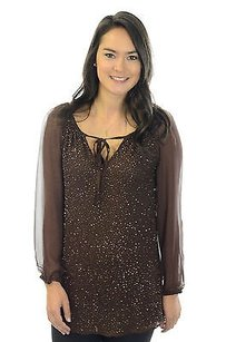 Tolani Lauren Zig Zag Tunic Top Brown