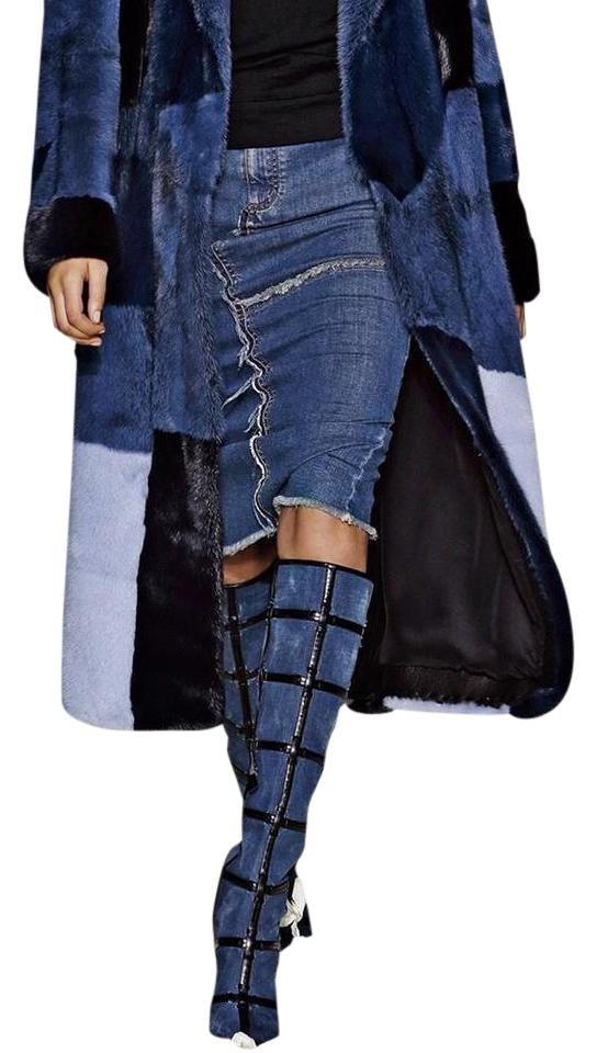fd4be961ec31 Tom Tom Tom Ford Denim Patchwork Knee High Runway Boots Booties Size US 9  b909f0