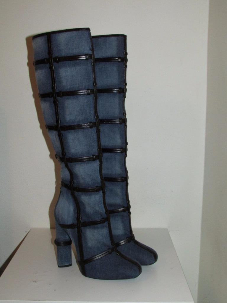 889b66012b18 ... Tom Tom Tom Ford Denim Patchwork Knee High Runway Boots Booties Size US  9 b909f0 ...