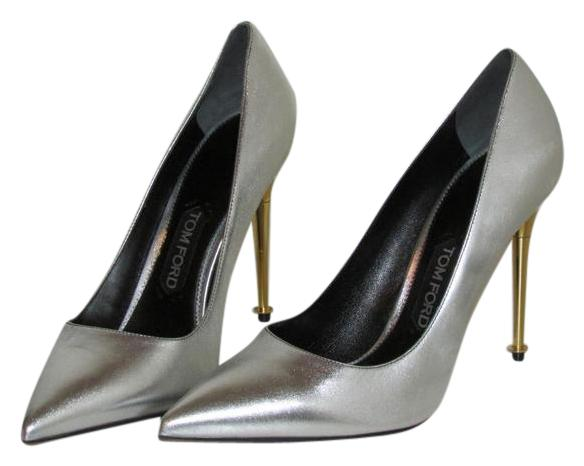 66befa5c5c5 Tom Ford Metallic Silver Leather Pointed Pointed Pointed Toe Classic Pumps  Size US 11 9d449b