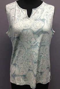 Tommy Bahama And White Silk Blend Floral Print Sleeveless Sm7635 Top Blue