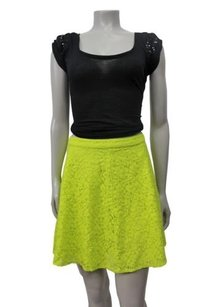 Topshop Lime Lace Skirt Green