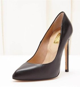 Topshop Black Leather Classic Stiletto High Heel Rt Pumps