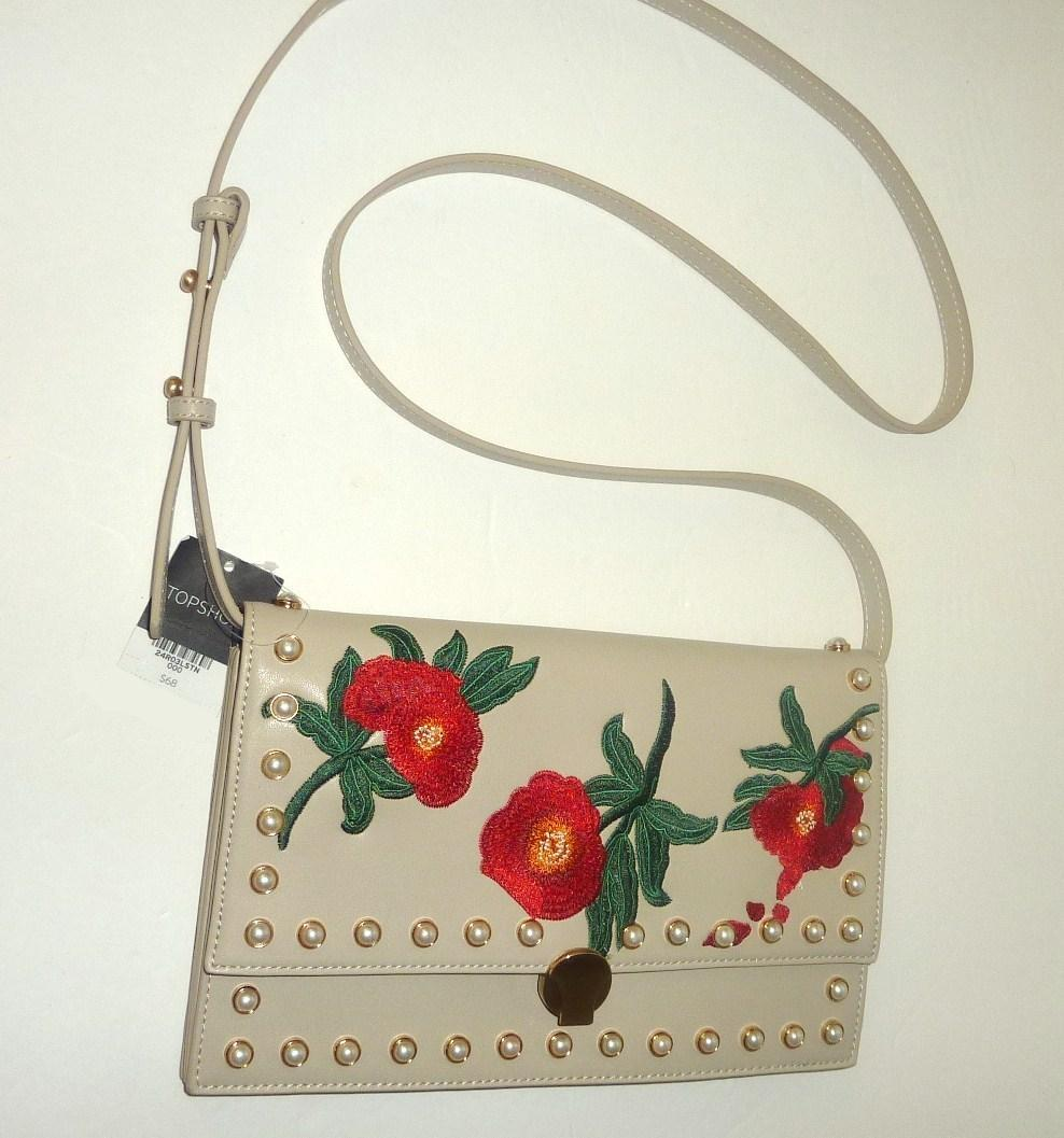 Topshop Multi Color Faux Leather Poppy Floral Embroidered Pearl Studs Cross Body Bag - Tradesy