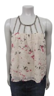 Topshop Splatter Print Beaded Top cream