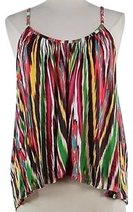 Torn by Ronny Kobo Womens Green Water Color Sleeveless 100 Modal Shirt Top Multi-Color