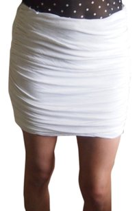 Torn by Ronny Kobo Ruche Ruched Tight Mini Skirt White