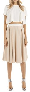 Torn by Ronny Kobo Textured Midi Swing Skirt Almond