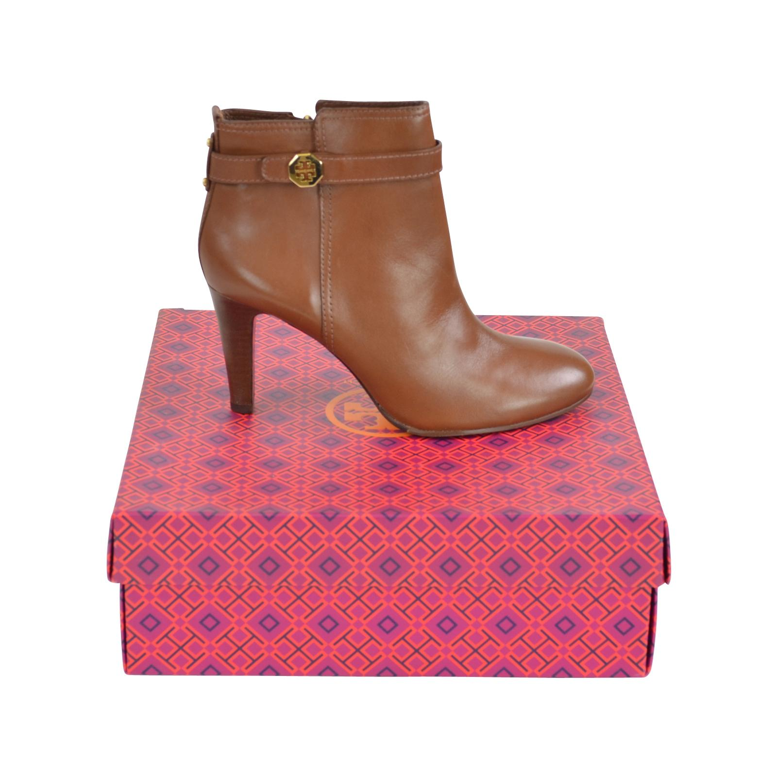 d83a4db18 Tory Burch Burch Burch Almond Brita 85mm Leather Ankle Heels Boots Booties Size  US 8.5 Regular (M