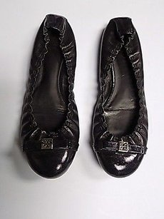 Tory Burch Leather Round Toe Bow Front Ballet B3485 Black Flats