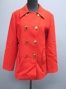 Tory Burch True Long Sleeves Lined Double Breasted Solid Sm3674 Coat