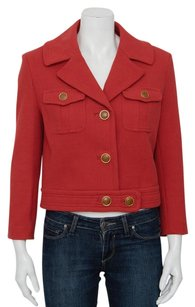 Tory Burch Magdalena Cotton Button Up Crop Jean Gold Army Cargo Red Jacket