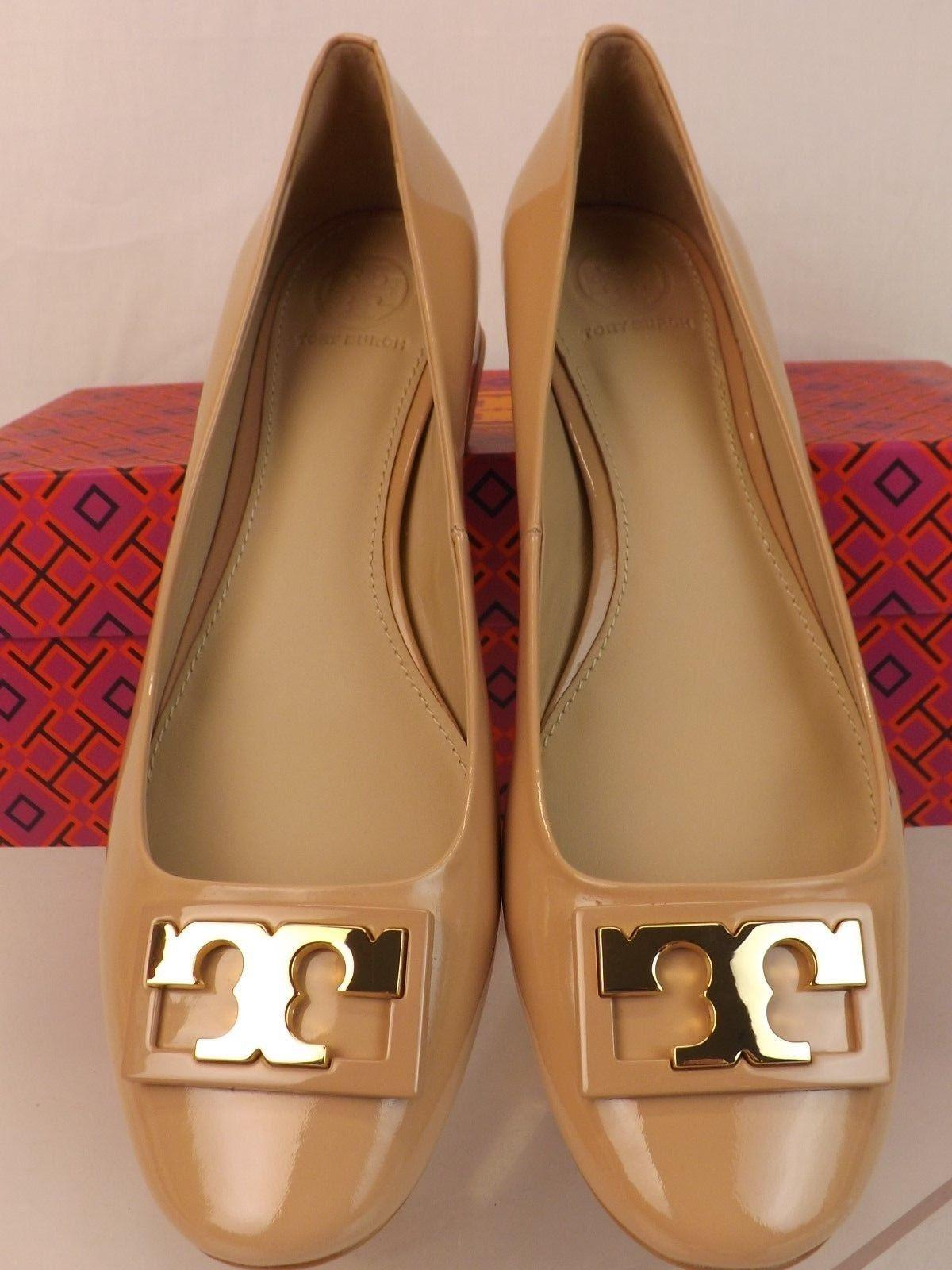 440315febf12 ... Tory Burch Beige Gigi T Patent Leather Gold Gold Gold Buckle Reva Low Pumps  Size US ...