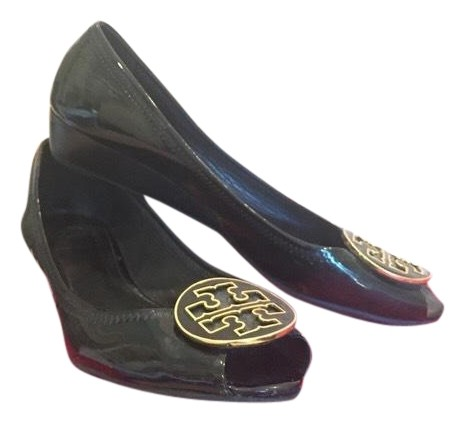Tory Burch Black Chelsea Peep Toe Flats Size US 9 Regular (M, B)