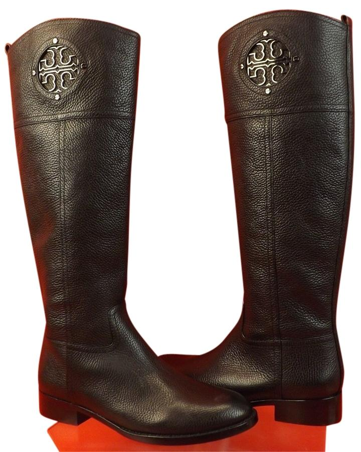 e05a0bb3632 buy tory burch brown and black riding boots 1c5cd a20af