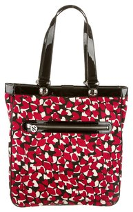 Tory Burch Black Red Canvas Patent Patent Leather Silver Hardware Logo Reva Monogram Heart Tote in Multicolor