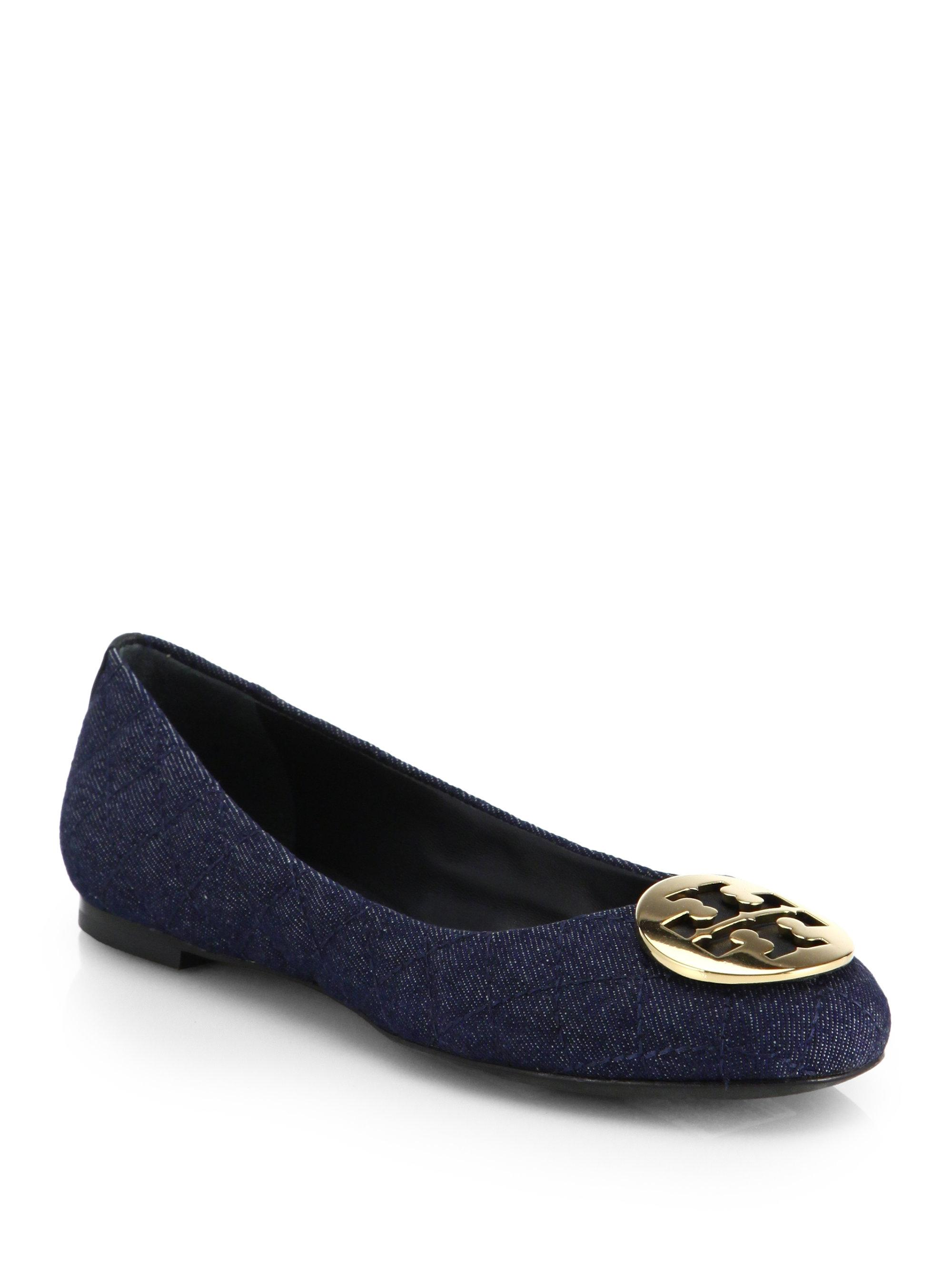 6be487b3566f Tory Burch Blue Denim Denim Denim New Quinn Quilt Ballet Reva Flats Size US  6.5 Regular (M