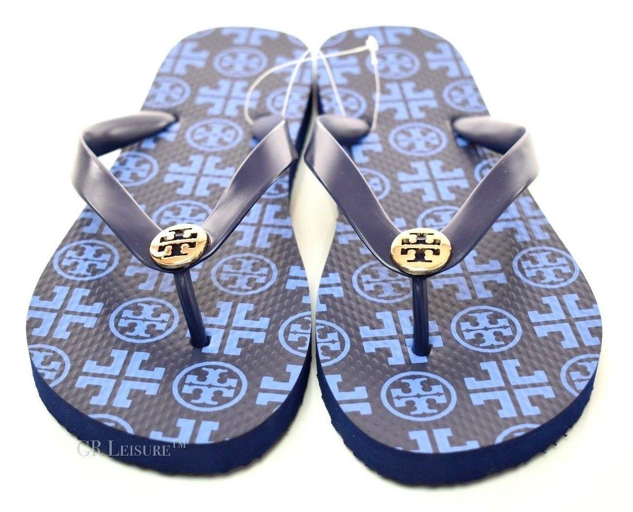 478838946 Tory Burch Blue Thin Flip Flop Logo Blue Gold Sandals Sandals Sandals Size  US 7 Regular (M