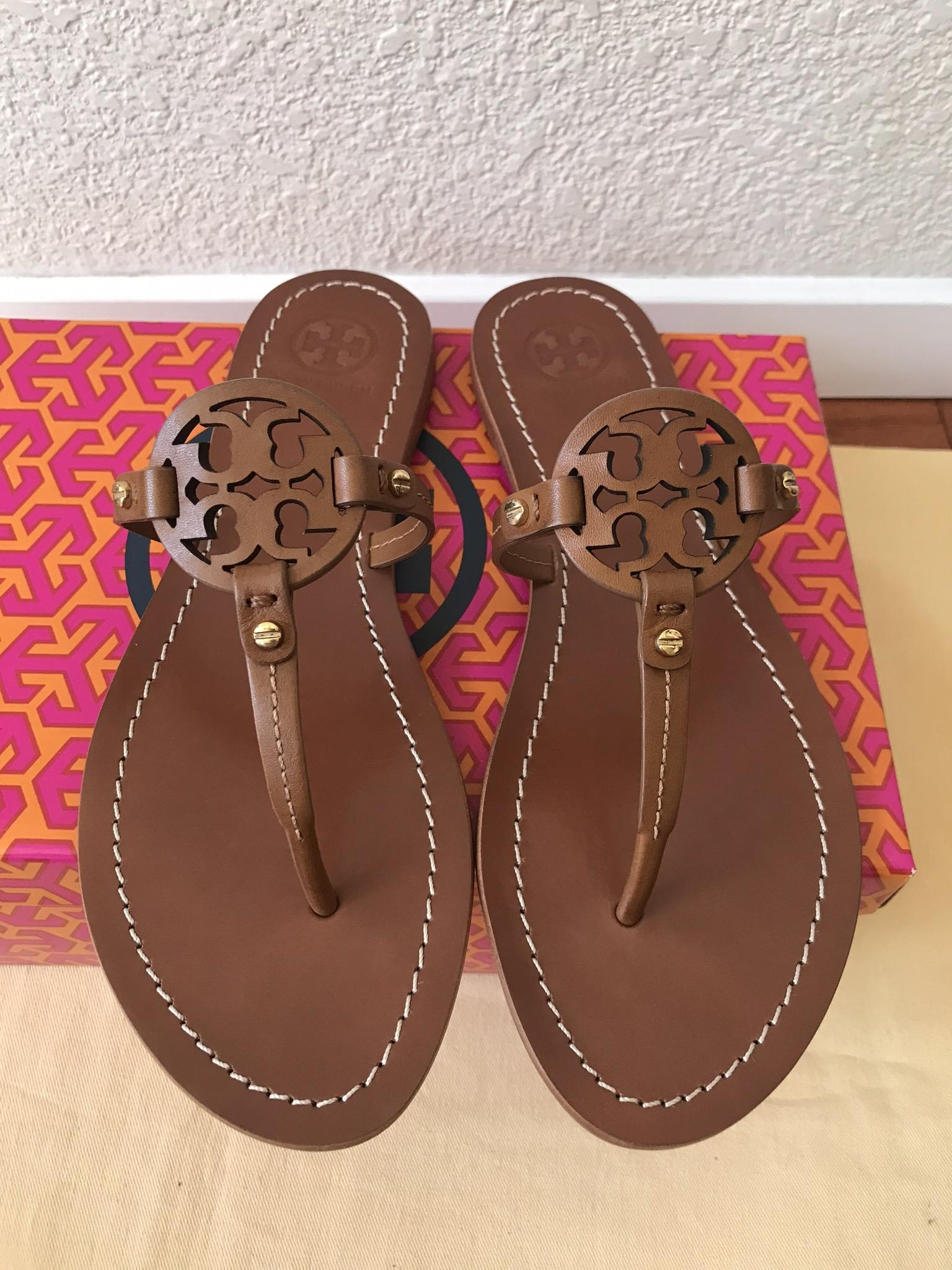 6c8cd041186b ... Tory Burch Brown 10m Mini Miller Flat Flat Flat Sandals Size US 10  Regular (M ...
