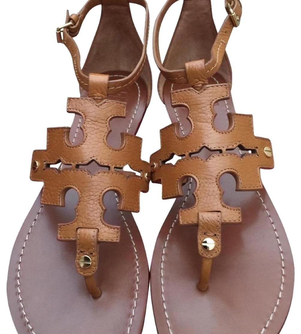 Tory Burch Brown End-of-summer-sale Elba Tumbled Leather Flat Sandals Size US 8 Regular (M, B)