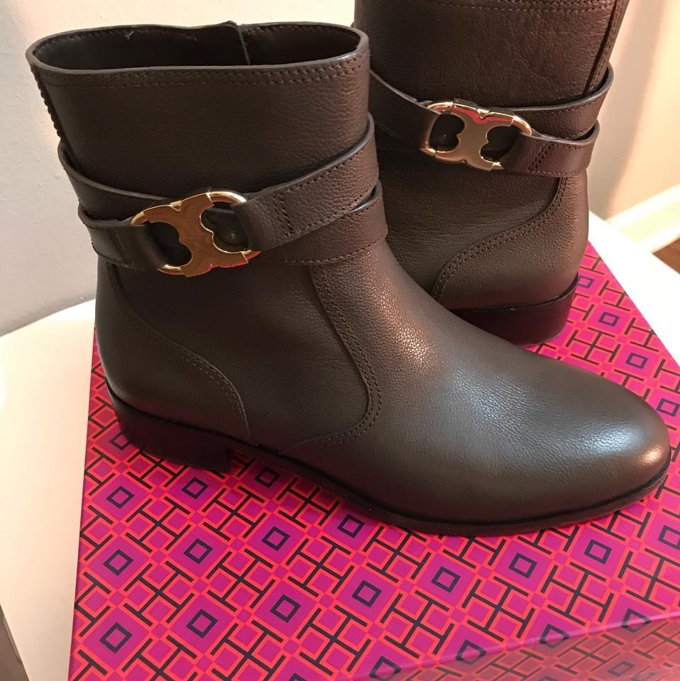 75b9f39ba54c ... Tory Burch Brown Gemini Link Link Link Coconut Leather Gold Full Zip  Ankle Boots Booties ...