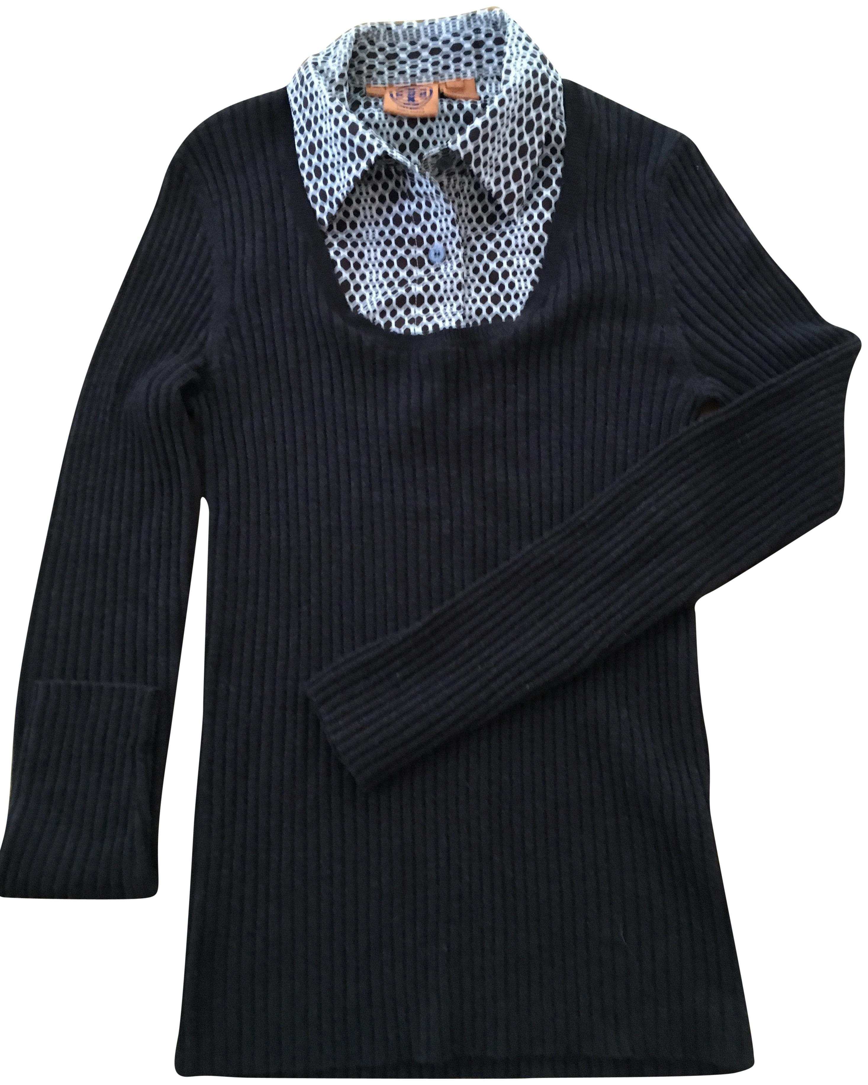 Tory Burch Brown Ribbed Knit With Geometric Design Detachable Collar