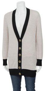Tory Burch Simone Black Merino Wool Knitted Button Cardigan Xss Sweater