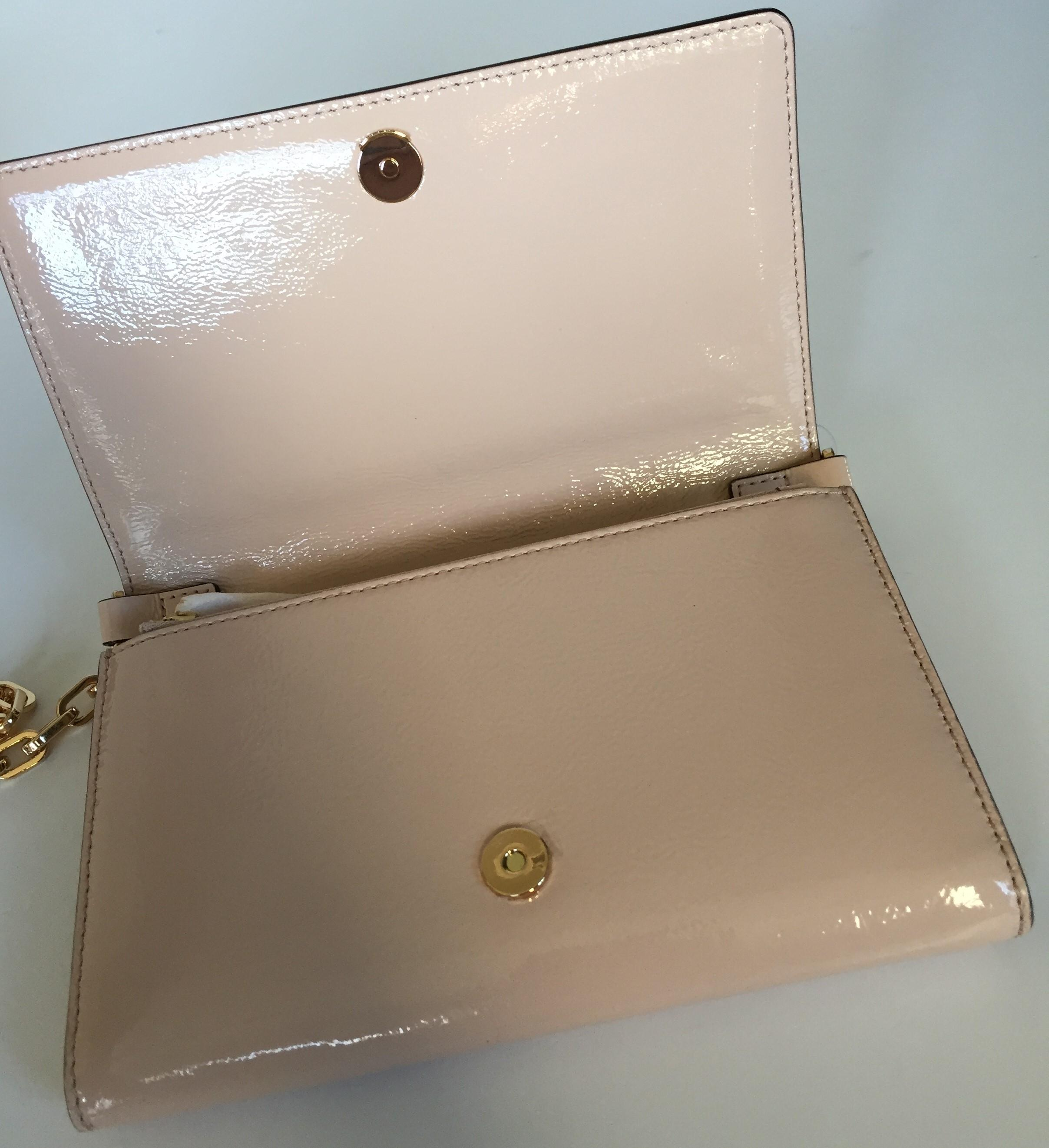 23b71d6b8f5d ... discount code for tory burch charlie flat wallet light oak patent leather  cross body bag tradesy
