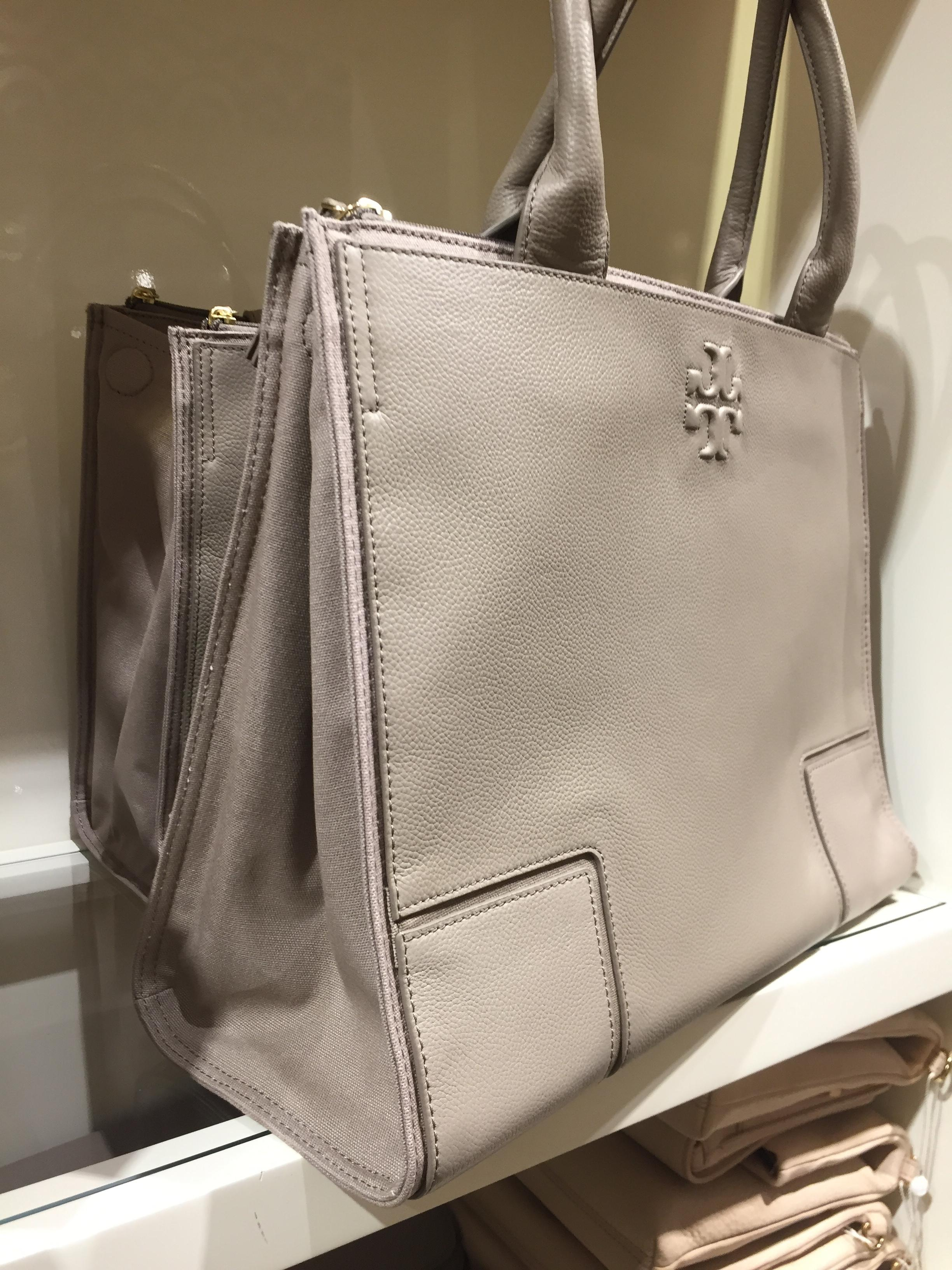 519d6be5fe7 ... coupon code for tory burch ella canvas leather tote in french grey.  123456 480d7 4fe28
