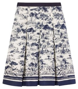 Tory Burch Frenesi Silk Shirt Skirt Navy Blue