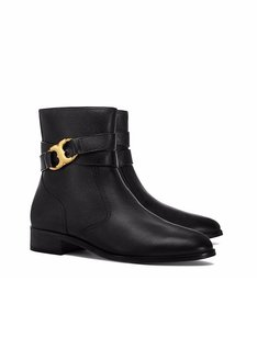 Tory Burch Gemini Bootie Black Pebbled Leather Boots