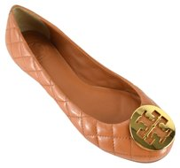 Tory Burch Leather Ballet Tan Gold Tan/Gold Flats