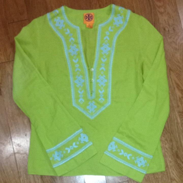 Tory Burch Lime Green Baby Blue Tunic Long Sleeve Blouse Size 6 S