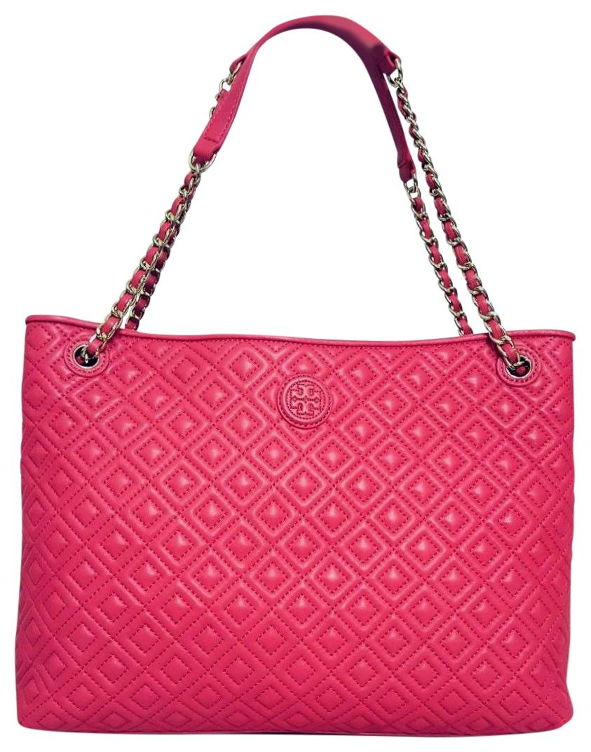Tory Burch Marion Quilted Center Zip Dark Peony Leather