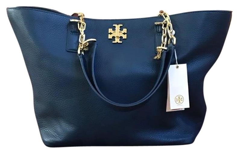 660347dd0d95 purchase tory burch mercer leather chain tote in tidal wave 9cde1 02e16