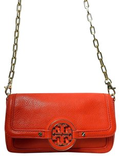 Tory Burch Amanda Pebbled Leather Gold Chain Cross Body Bag