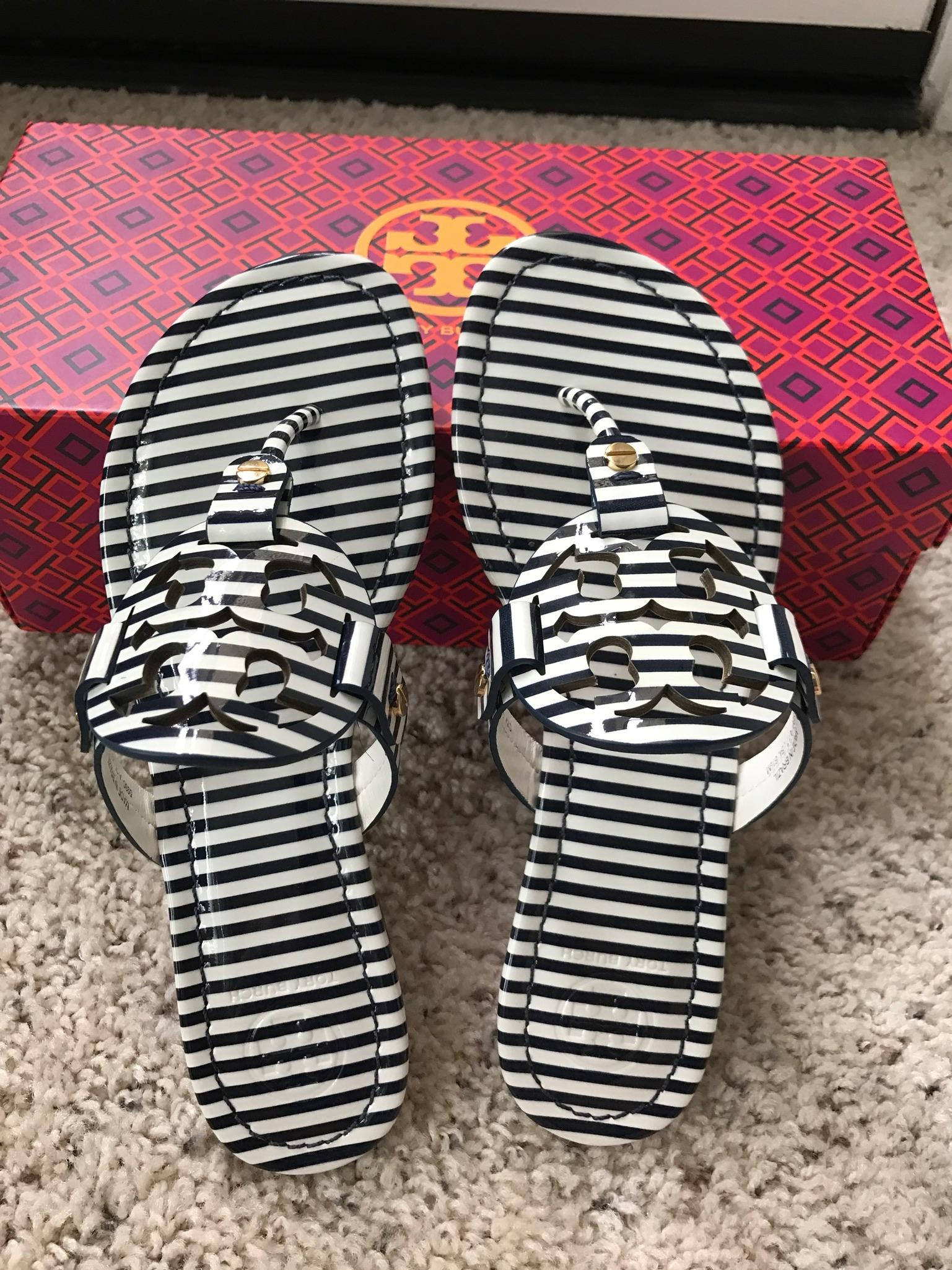 3b8b12775f51 ... Tory Burch Multicolor 10m Miller Striped Striped Striped Printed Patent  Leather Sandals Size US 10 Regular ...
