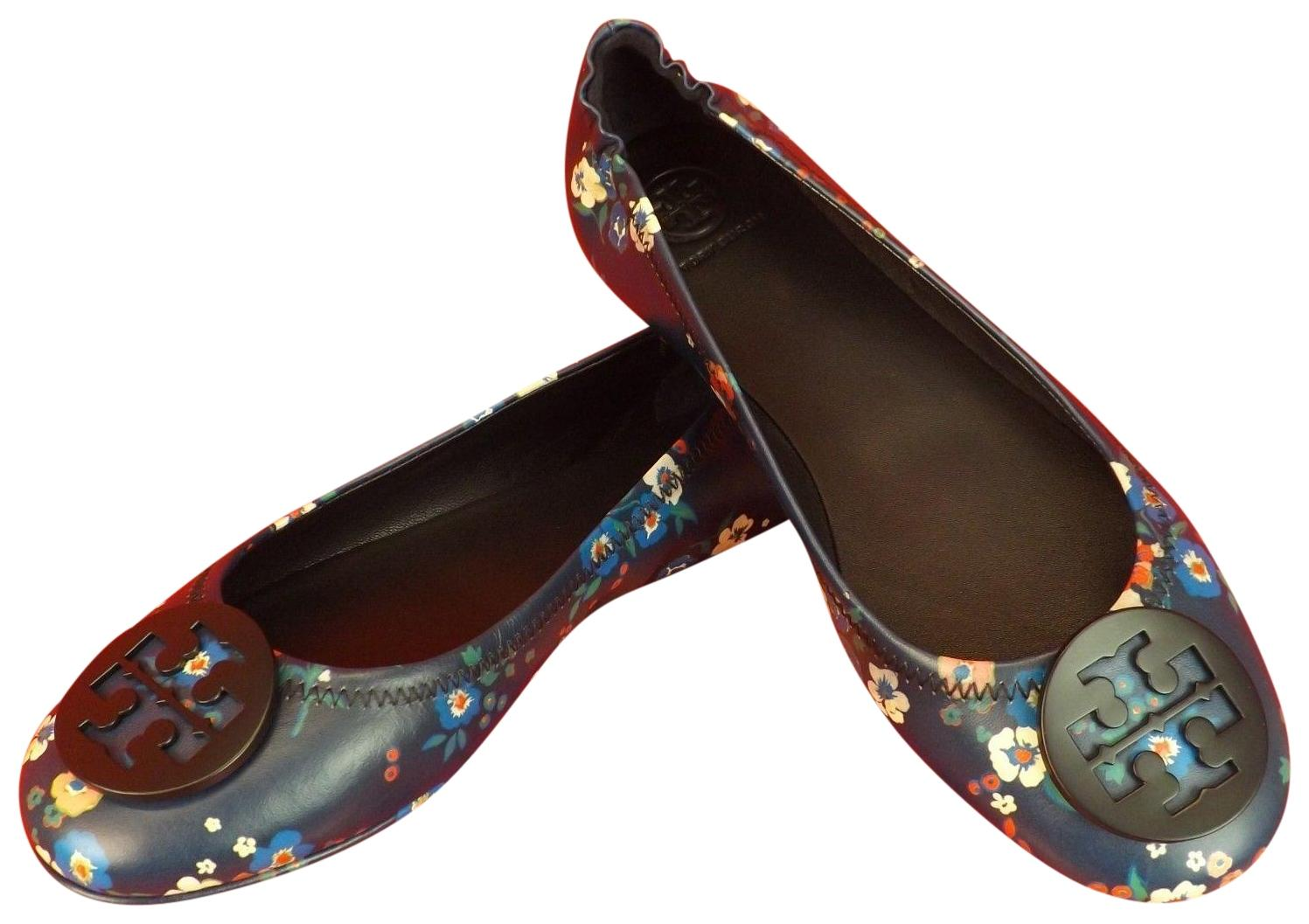 6ac6cc35bf51c Tory Burch Navy Blue   Multi-color Minnie Minnie Minnie Travel Pansy  Bouquet Floral Leather Reva Ballet Flats Size US 10 Regular (M