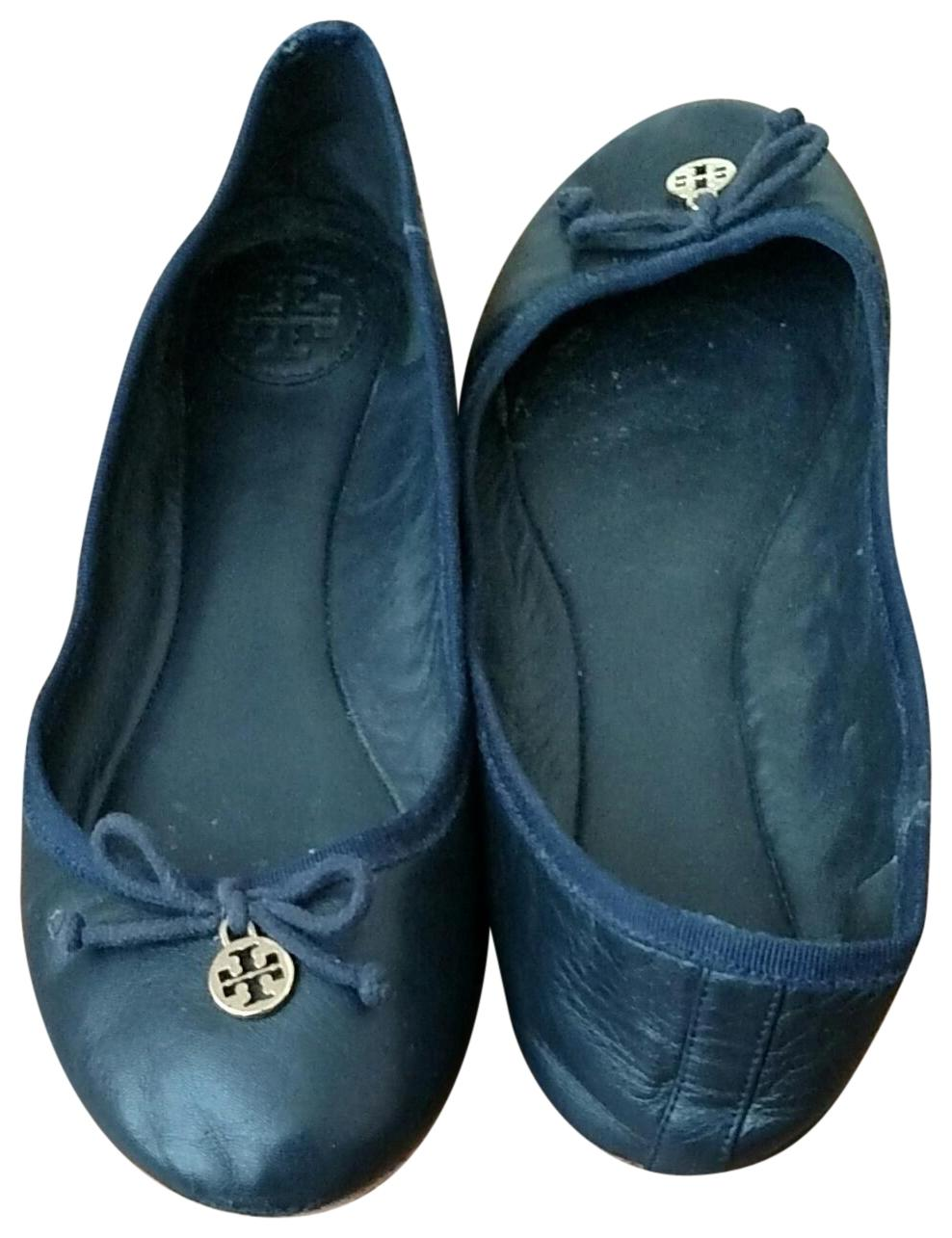 Tory Burch Navy Blue Soft Leather Ballet with Gold Gold Gold Logo On Toe (22138206) Flats Size US 8 Regular (M, B) 999591