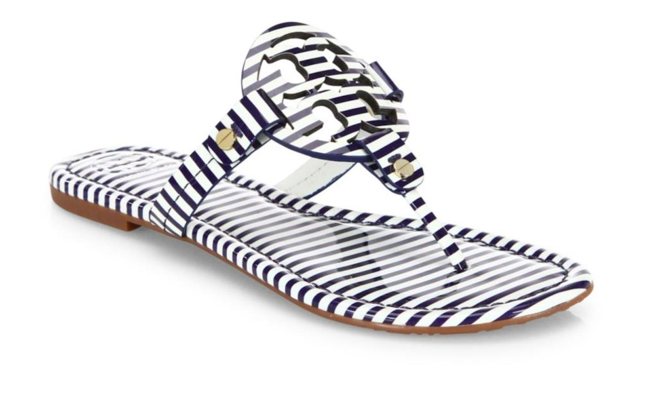 Tory Burch Navy Blue White Nautical New Box Flip Striped Patent Leather Miller Flip Box Flops Sandals Size US 9 Regular (M, B) 46330a