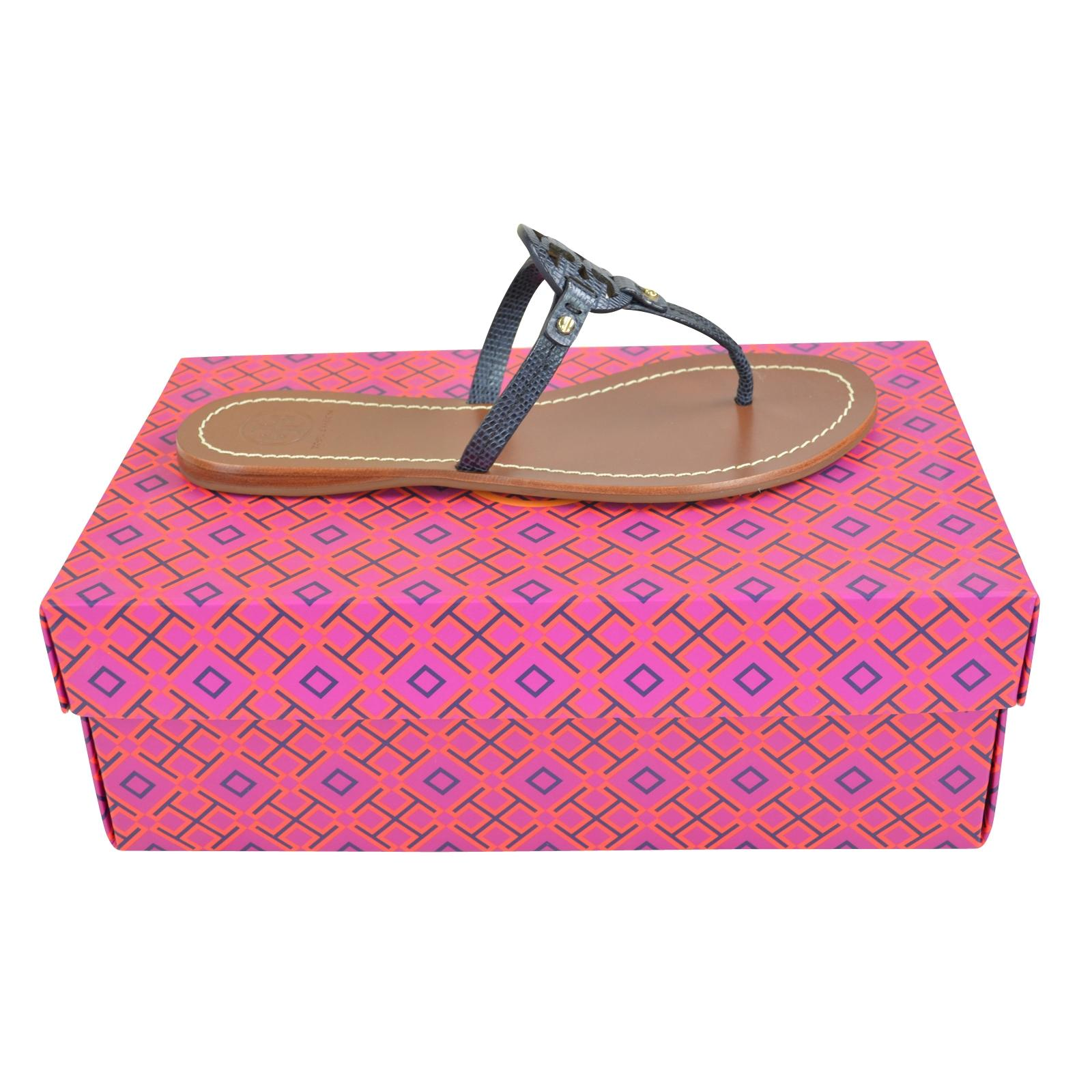 58e5233a194802 Tory Burch Burch Burch Navy Mini Miller Tejust Print Sandals Size US 6.5  Regular (M