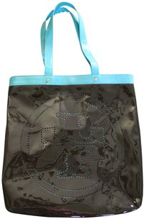 Tory Burch Patent Patent Leather Tote in Blue / Brown